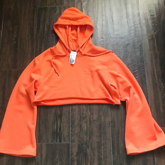 698ac35a902dec Bright orange crop hoodie
